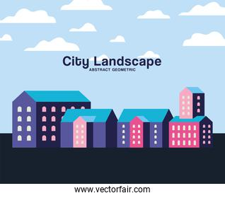 Pink purple and blue city buildings landscape with clouds design