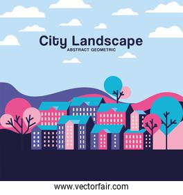 Pink purple and blue city buildings landscape with clouds and trees design