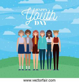 Women cartoons smiling of happy youth day vector design