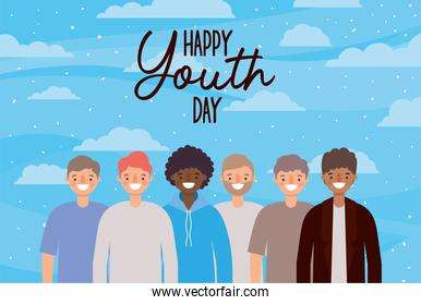 Men cartoons smiling of happy youth day vector design