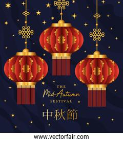 Mid autumn harvest moon festival with red lanterns and stars vector design