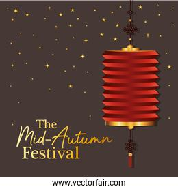 Mid autumn harvest moon festival with red lantern and stars vector design