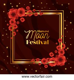 Mid autumn harvest moon festival with red flowers frame and stars vector design