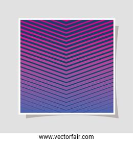 Blue pink gradient and striped background frame vector design