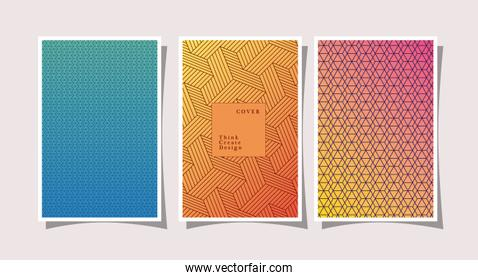 Blue yellow pink gradient and pattern backgrounds frames set vector design