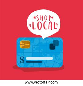 credit card with shop local inside bubble vector design