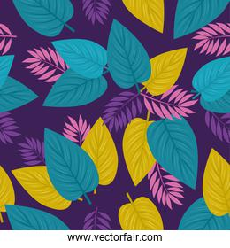tropical background, leaves purple, pink and green colors, decoration with tropical leaves