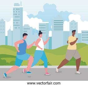 marathoners running sportive, men and woman, run competition or marathon race poster, healthy lifestyle and sport
