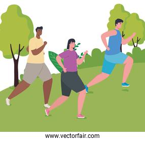 people marathoners running in the park competition or marathon race poster, healthy lifestyle and sport