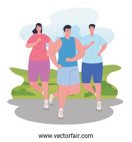 people marathoners running sportive, men and woman, run competition or marathon race poster, healthy lifestyle and sport