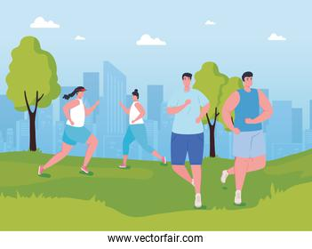 young people marathoners running in the park, women and men, run competition or marathon race poster, healthy lifestyle and sport