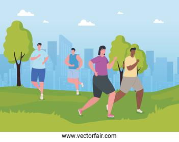 people marathoners running in the park, men and woman, run competition or marathon race poster, healthy lifestyle and sport