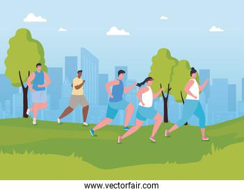 youth people marathoners running in the park, women and men, run competition or marathon race poster, healthy lifestyle and sport