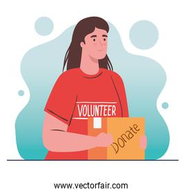 woman volunteer holding donation box, charity and social care donation concept