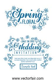 set cards, wedding invitation and spring floral card with flowers and leaves decoration