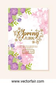 spring floral text, spring wording with flowers purple color, romantic greeting card