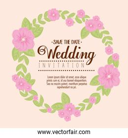 greeting card with frame circular of flowers pink color, wedding invitation with flowers pink color decoration