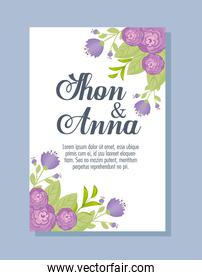 greeting card with flowers purple color, wedding invitation with flowers purple color decoration