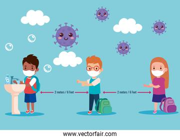 back to school for new normal lifestyle concept, kids wearing medical mask and social distancing protect coronavirus covid 19