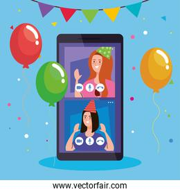 online party, meeting friends, women have online party together in quarantine in smartphone, video conference, party web camera online holiday