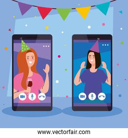online party, women have online party together in quarantine in smartphone