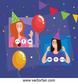 online party, women have online party together in quarantine, video conference, party web camera online holiday