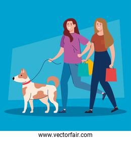 women walking with pet dog on the leash, woman with dog mascot