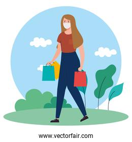 young woman with shopper bag, wearing medical mask, prevent pandemic coronavirus covid 19, safe shopping concept