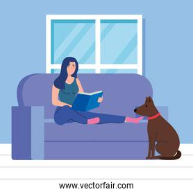 woman sitting in couch, reading a book, with dog mascot
