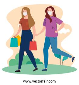 young women with shopper bag, wearing medical mask, prevent pandemic coronavirus covid 19, safe shopping concept
