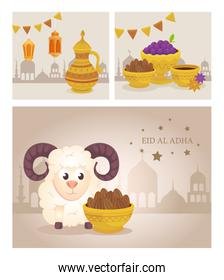 cards, eid al adha mubarak, happy sacrifice feast, with decoration