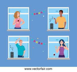 young people having party on window, social distancing concept