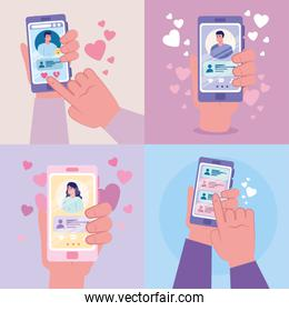 hands holding smartphones with woman and men chatting vector design