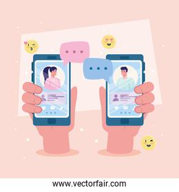 hands holding smartphones with woman and man chatting vector design