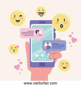 hand holding smartphone with woman and man chatting vector design