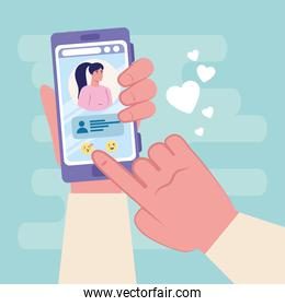 Hand holding smartphone chatting with woman vector design