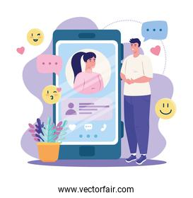 smartphone with woman and man chatting vector design