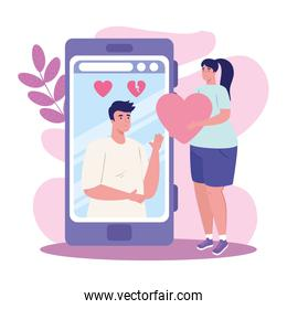 smartphone with couple  chatting vector design
