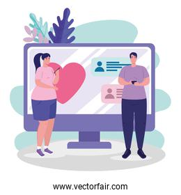 computer with woman and man chatting vector design
