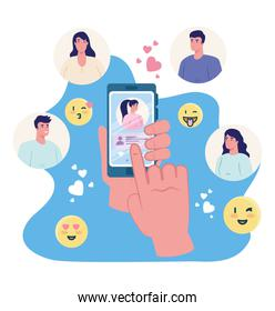 Hand holding smartphone chatting with woman and people vector design