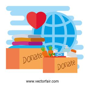 donate boxes and global sphere vector design