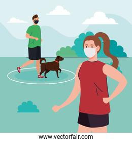 Social distancing between man and woman with masks running with dog at park vector design