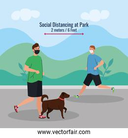 Social distancing between men with masks and dog running at park vector design