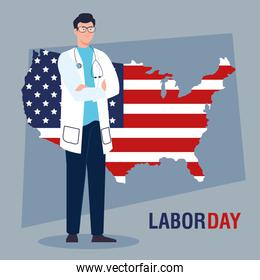 doctor man with usa flag map vector design