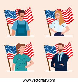 painter businesswoman doctor and businessman with usa flags vector design