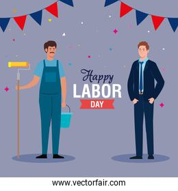 painter man and businessman with banner pennant vector design