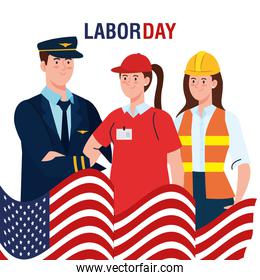 pilot man delivery and builder woman with usa flag vector design