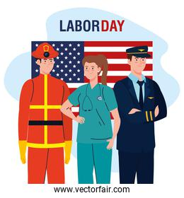 firefighter pilot man and doctor woman with usa flag vector design