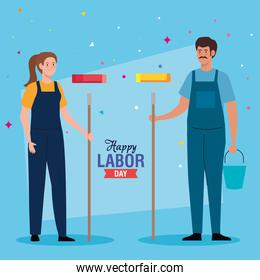 painter man and woman vector design