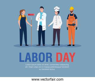 doctor and constructor  men painter and chef women vector design